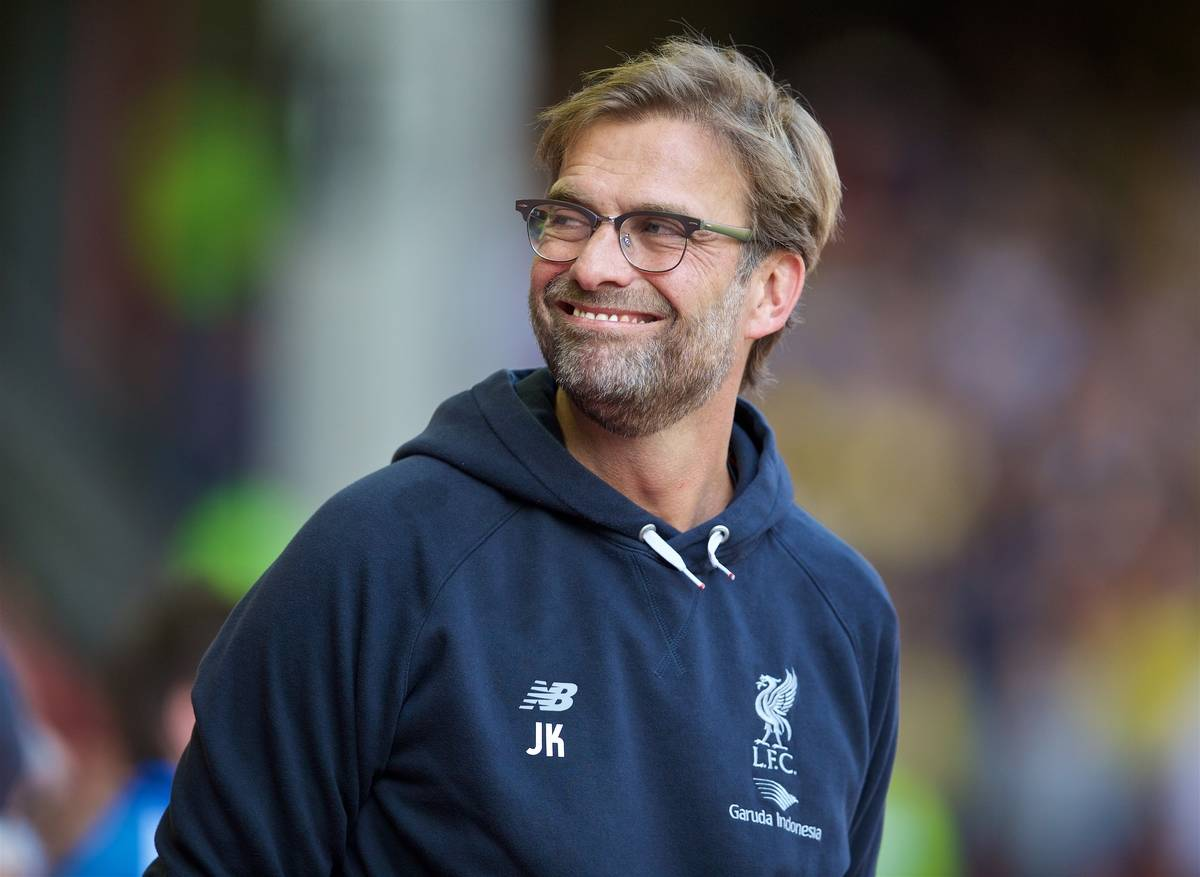 LIVERPOOL, ENGLAND - Sunday, May 8, 2016: Liverpool's manager Jürgen Klopp before the Premier League match against Watford at Anfield. (Pic by David Rawcliffe/Propaganda)
