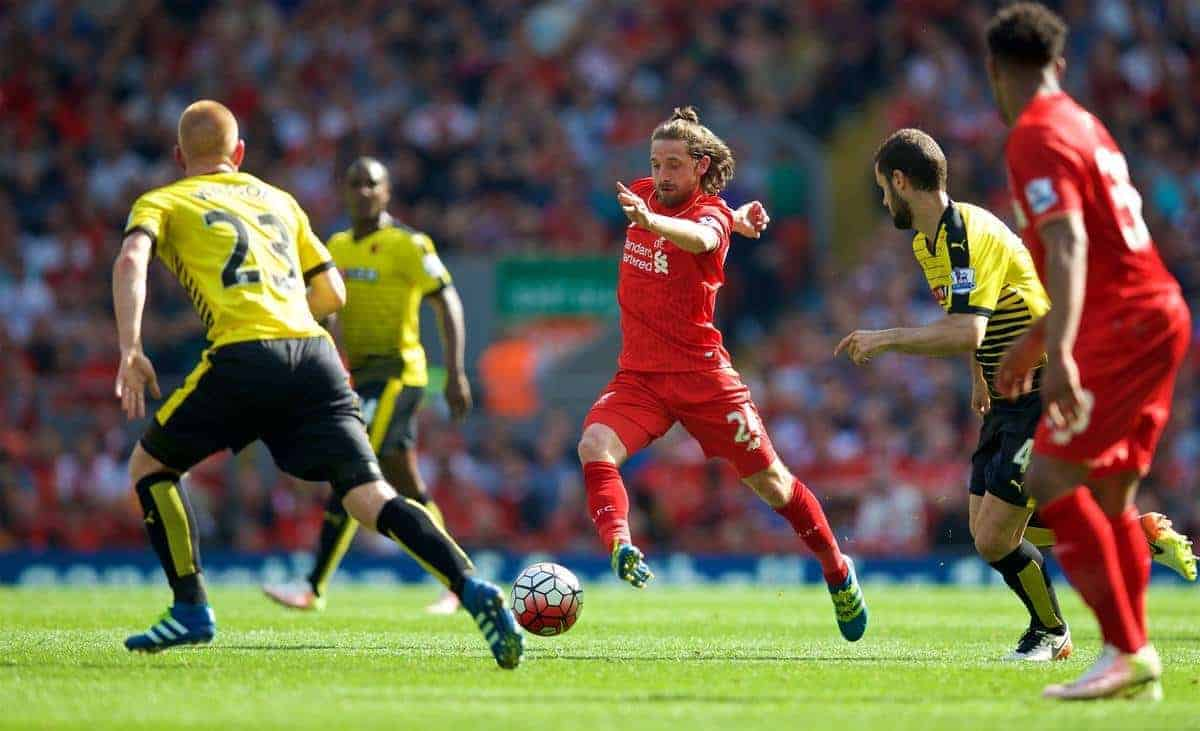 LIVERPOOL, ENGLAND - Sunday, May 8, 2016: Liverpool's Joe Allen in action against Watford during the Premier League match at Anfield. (Pic by David Rawcliffe/Propaganda)
