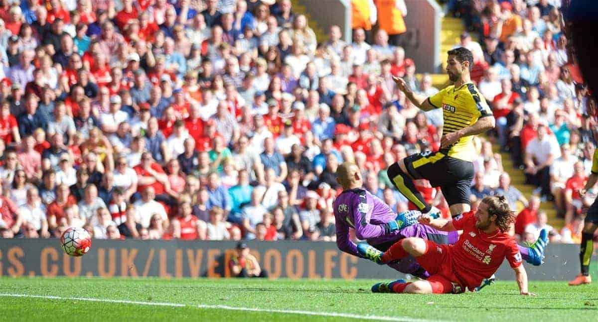 LIVERPOOL, ENGLAND - Sunday, May 8, 2016: Liverpool's Joe Allen scores the first goal against Watford during the Premier League match at Anfield. (Pic by David Rawcliffe/Propaganda)
