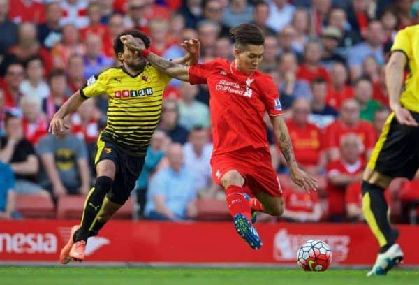 LIVERPOOL, ENGLAND - Sunday, May 8, 2016: Liverpool's Roberto Firmino in action against Watford during the Premier League match at Anfield. (Pic by David Rawcliffe/Propaganda)