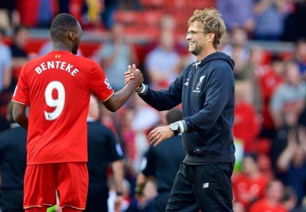 LIVERPOOL, ENGLAND - Sunday, May 8, 2016: Liverpool's manager J¸rgen Klopp and Christian Benteke after the 2-0 victory over Watford during the Premier League match at Anfield. (Pic by David Rawcliffe/Propaganda)