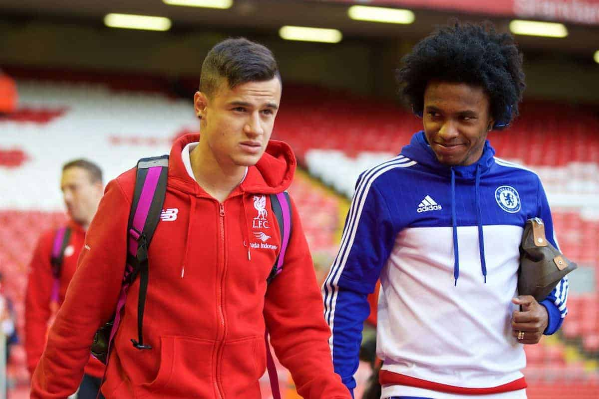 LIVERPOOL, ENGLAND - Wednesday, May 11, 2016: Liverpool's Philippe Coutinho Correia and Chelsea's Willian Borges da Silva arrive before the Premier League match at Anfield. (Pic by David Rawcliffe/Propaganda)