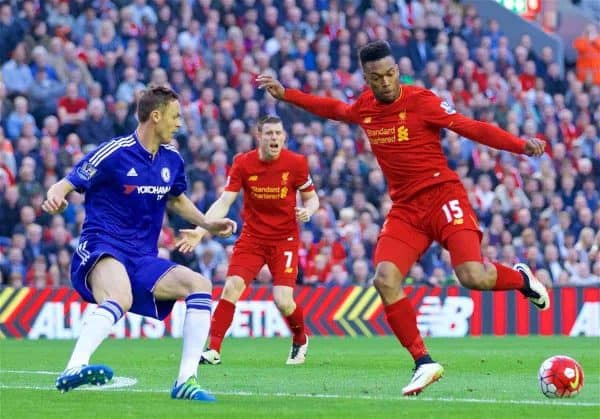 LIVERPOOL, ENGLAND - Wednesday, May 11, 2016: Liverpool's Daniel Sturridge in action against Chelsea's Gary Cahill during the Premier League match at Anfield. (Pic by David Rawcliffe/Propaganda)