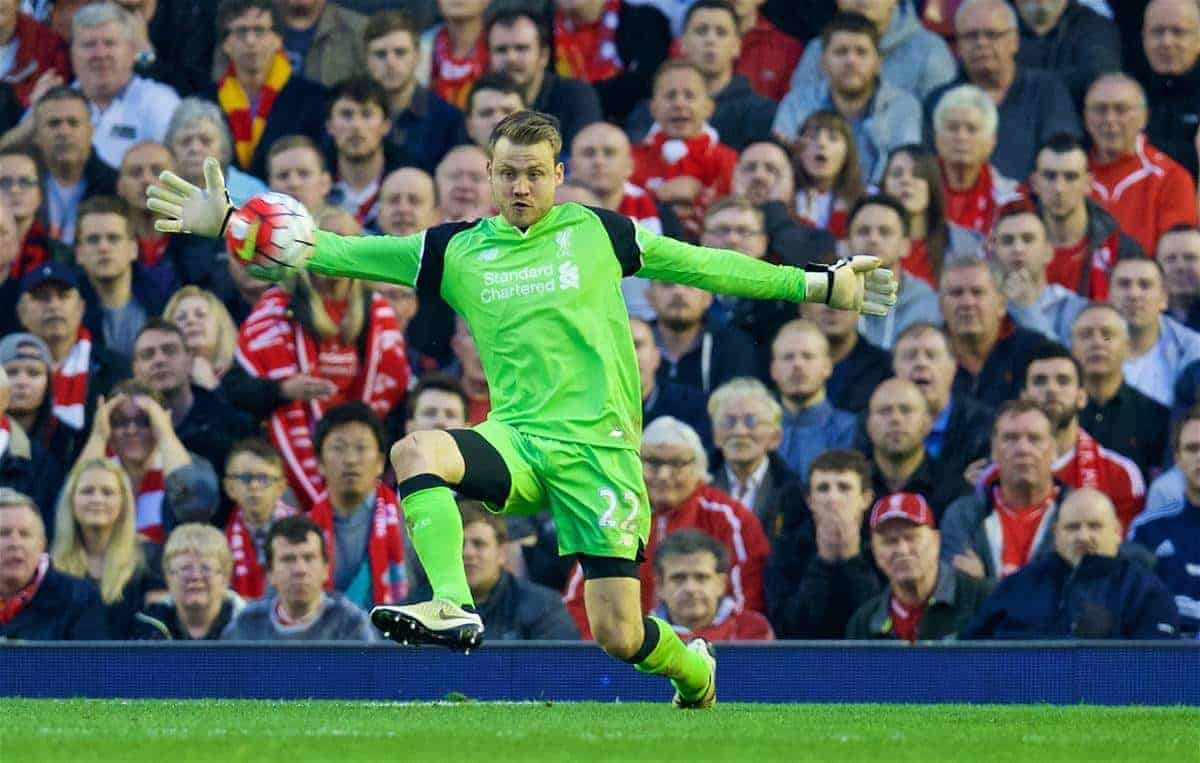 LIVERPOOL, ENGLAND - Wednesday, May 11, 2016: Liverpool's goalkeeper Simon Mignolet in action during the Premier League match against Chelsea at Anfield. (Pic by David Rawcliffe/Propaganda)