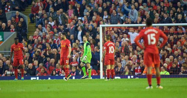 LIVERPOOL, ENGLAND - Wednesday, May 11, 2016: Liverpool players looking dejected after Chelsea's first goal during the Premier League match at Anfield. (Pic by David Rawcliffe/Propaganda)