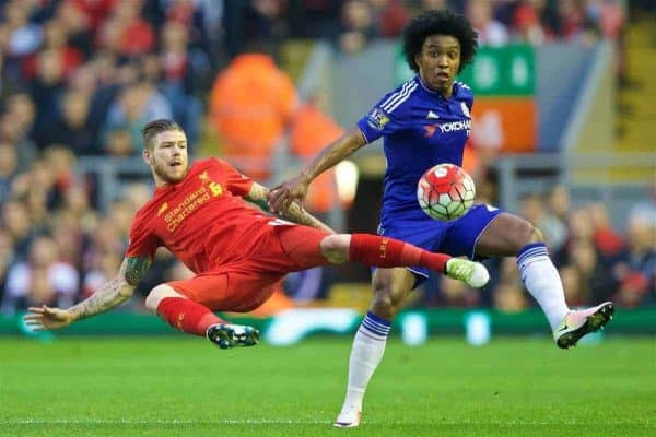 LIVERPOOL, ENGLAND - Wednesday, May 11, 2016: Liverpool's Alberto Moreno in action against Chelsea's Willian Borges da Silva during the Premier League match at Anfield. (Pic by David Rawcliffe/Propaganda)