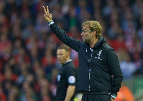 LIVERPOOL, ENGLAND - Wednesday, May 11, 2016: Liverpool's manager Jürgen Klopp giving instructions during the Premier League match against Chelsea at Anfield. (Pic by David Rawcliffe/Propaganda)