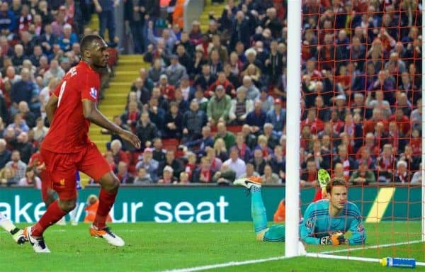 LIVERPOOL, ENGLAND - Wednesday, May 11, 2016: Liverpool's Christian Benteke scores a last-minute goal against Chelsea during the Premier League match at Anfield. (Pic by David Rawcliffe/Propaganda)