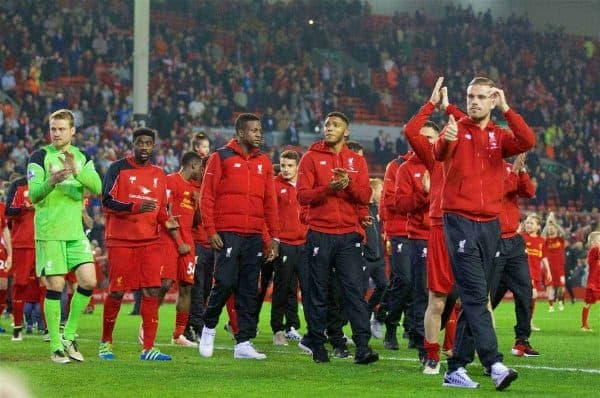 LIVERPOOL, ENGLAND - Wednesday, May 11, 2016: Liverpool's captain Jordan Henderson and his side after the last home game of the season, a 1-1 draw against Chelsea, during the Premier League match at Anfield. (Pic by David Rawcliffe/Propaganda)