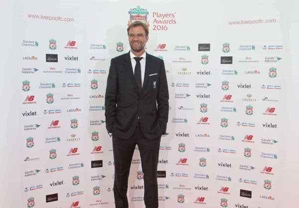 LIVERPOOL, ENGLAND - Thursday, May 12, 2016: Liverpool's manager J¸rgen Klopp arrives on the red carpet for the Liverpool FC Players' Awards Dinner 2016 at the Liverpool Arena. (Pic by David Rawcliffe/Propaganda)