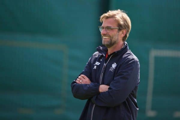 LIVERPOOL, ENGLAND - Friday, May 13, 2016: Liverpool's manager Jürgen Klopp during a training session at Melwood Training Ground ahead of the UEFA Europa League Final against Seville FC. (Pic by David Rawcliffe/Propaganda)