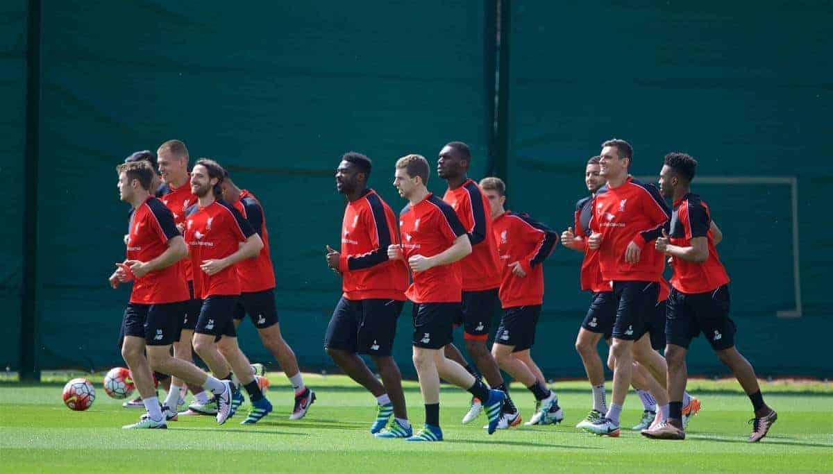 LIVERPOOL, ENGLAND - Friday, May 13, 2016: Liverpool players during a training session at Melwood Training Ground ahead of the UEFA Europa League Final against Seville FC. (Pic by David Rawcliffe/Propaganda)