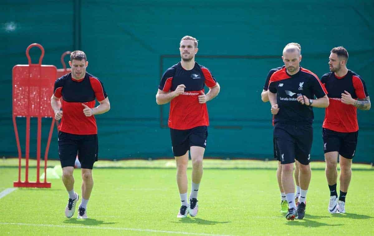 LIVERPOOL, ENGLAND - Friday, May 13, 2016: Liverpool's James Milner and captain Jordan Henderson during a training session at Melwood Training Ground ahead of the UEFA Europa League Final against Seville FC. (Pic by David Rawcliffe/Propaganda)
