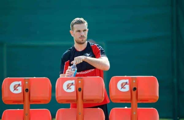 LIVERPOOL, ENGLAND - Friday, May 13, 2016: Liverpool's captain Jordan Henderson during a training session at Melwood Training Ground ahead of the UEFA Europa League Final against Seville FC. (Pic by David Rawcliffe/Propaganda)