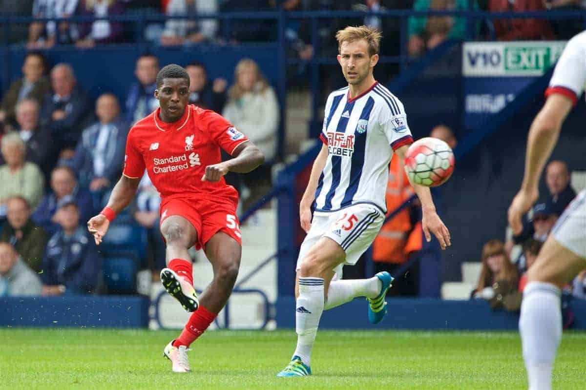 WEST BROMWICH, ENGLAND - Sunday, May 15, 2016: Liverpool's Sheyi Ojo in action against West Bromwich Albion during the final Premier League match of the season at the Hawthorns. (Pic by David Rawcliffe/Propaganda)