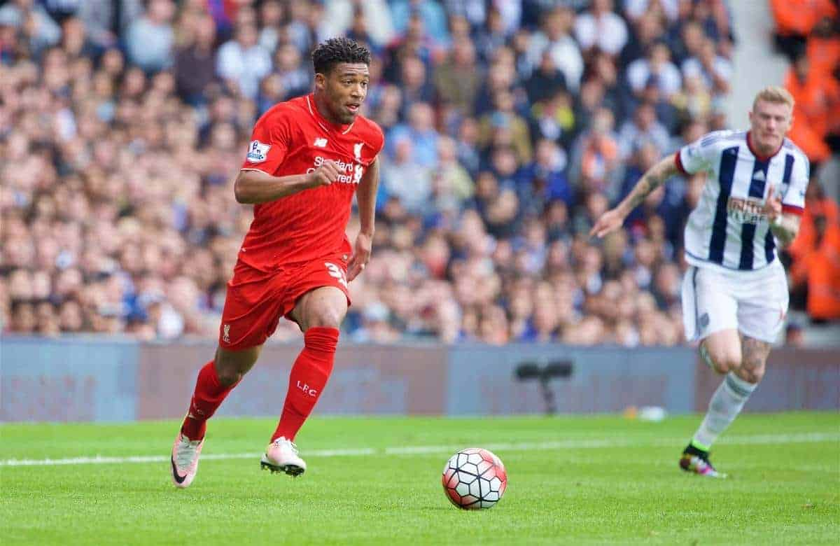 WEST BROMWICH, ENGLAND - Sunday, May 15, 2016: Liverpool's Jordon Ibe on his way to scoring the first equalising goal West Bromwich Albion to level the score at 1-1 during the final Premier League match of the season at the Hawthorns. (Pic by David Rawcliffe/Propaganda)