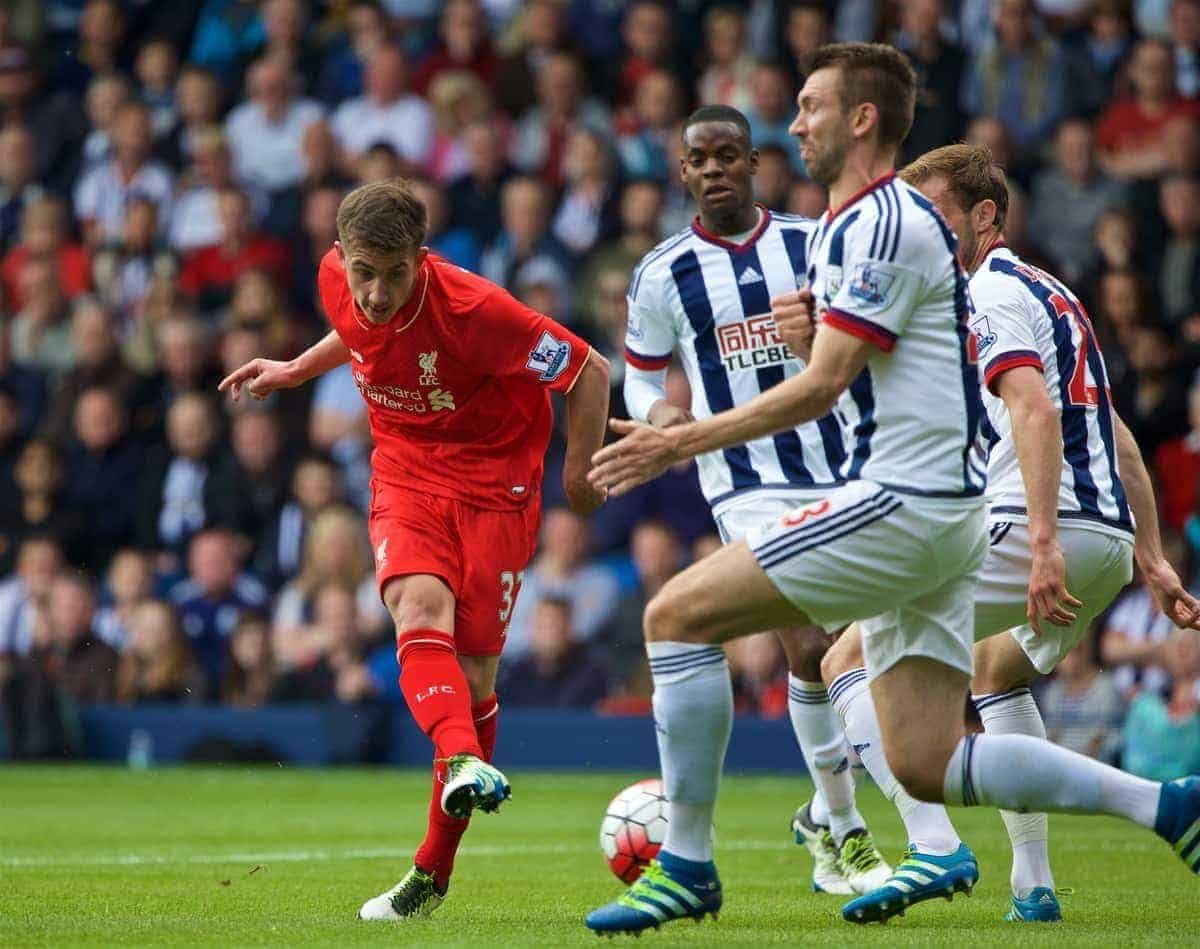 WEST BROMWICH, ENGLAND - Sunday, May 15, 2016: Liverpool's Cameron Brannagan in action against West Bromwich Albion during the final Premier League match of the season at the Hawthorns. (Pic by David Rawcliffe/Propaganda)