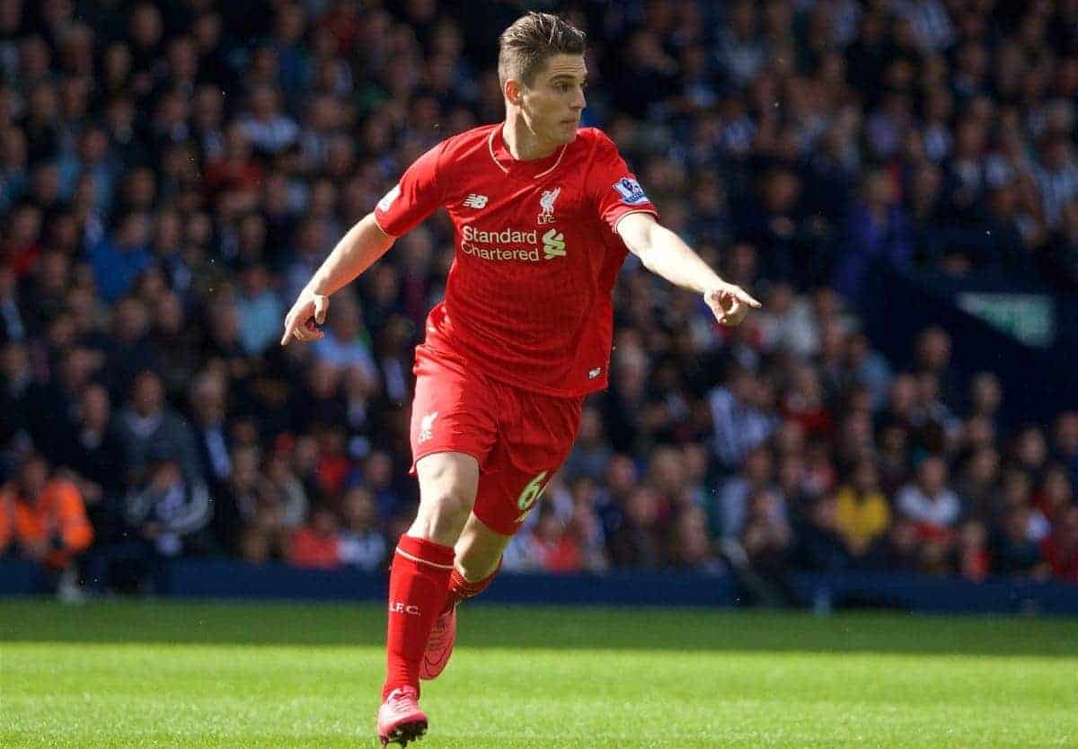 WEST BROMWICH, ENGLAND - Sunday, May 15, 2016: Liverpool's Sergi Canos in action against West Bromwich Albion during the final Premier League match of the season at the Hawthorns. (Pic by David Rawcliffe/Propaganda)
