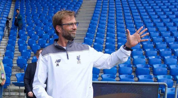 BASEL, SWITZERLAND - Tuesday, May 17, 2016: Liverpool's manager J¸rgen Klopp before a training session ahead of the UEFA Europa League Final against Sevilla FC at St-Jakobs Park. (Pic by David Rawcliffe/Propaganda)