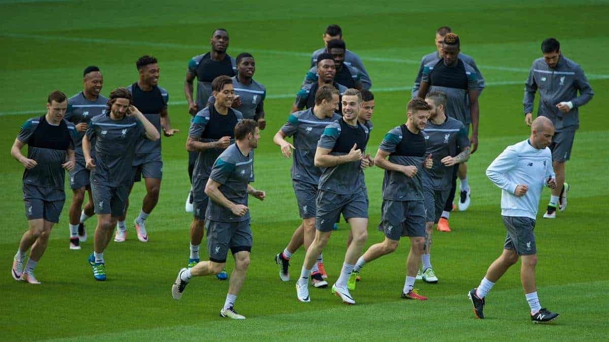 BASEL, SWITZERLAND - Tuesday, May 17, 2016: Liverpool's captain Jordan Henderson and his team during a training session ahead of the UEFA Europa League Final against Sevilla FC at St-Jakobs Park. (Pic by David Rawcliffe/Propaganda)