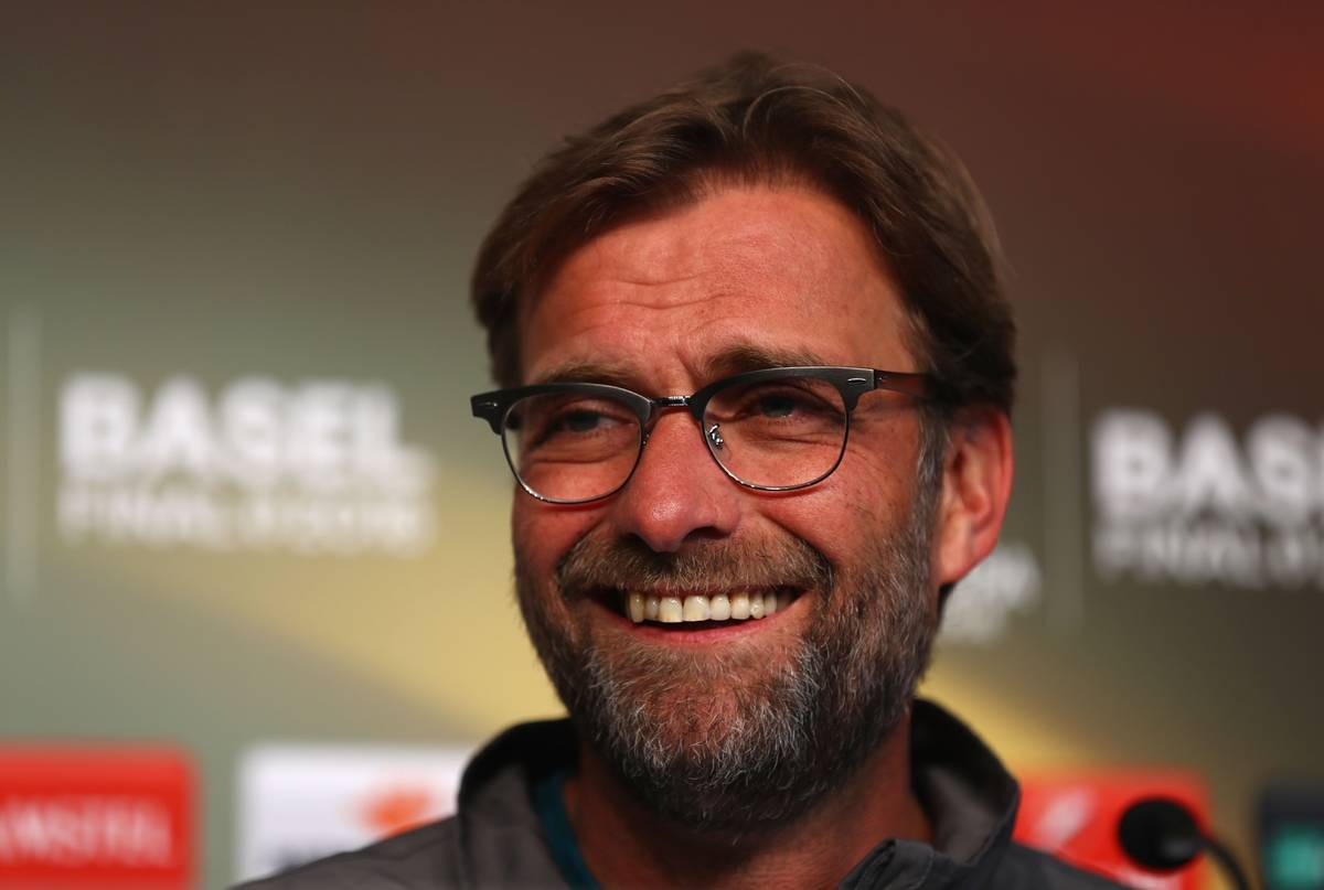 BASEL, SWITZERLAND - Tuesday, May 17, 2016: Liverpool's manager Jürgen Klopp during a press conference ahead of the UEFA Europa League Final against Sevilla FC at St-Jakobs Park. (Pic by UEFA/Pool/Propaganda)