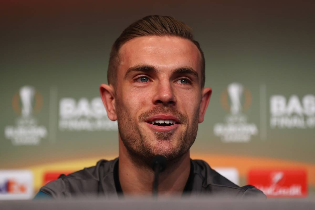 BASEL, SWITZERLAND - Tuesday, May 17, 2016: Liverpool's captain Jordan Henderson during a press conference ahead of the UEFA Europa League Final against Sevilla FC at St-Jakobs Park. (Pic by UEFA/Pool/Propaganda)