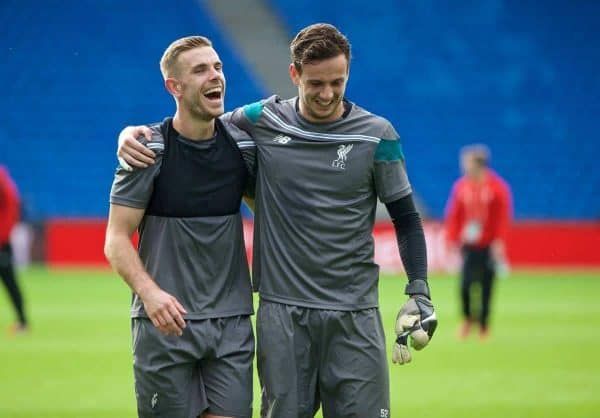 BASEL, SWITZERLAND - Tuesday, May 17, 2016: Liverpool's captain Jordan Henderson and goalkeeper Danny Ward after a training session ahead of the UEFA Europa League Final against Sevilla FC at St-Jakobs Park. (Pic by David Rawcliffe/Propaganda)