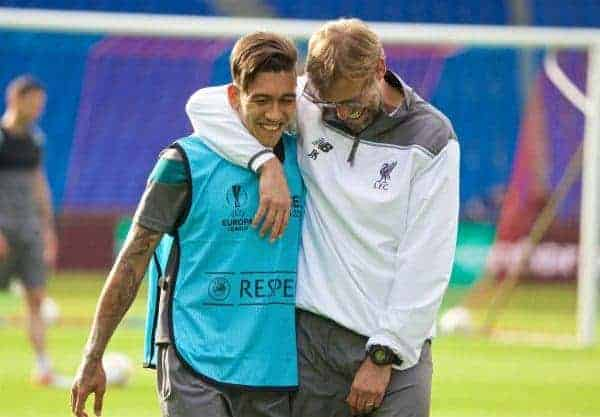BASEL, SWITZERLAND - Tuesday, May 17, 2016: Liverpool's manager Jürgen Klopp and Roberto Firmino after a training session ahead of the UEFA Europa League Final against Sevilla FC at St-Jakobs Park. (Pic by David Rawcliffe/Propaganda)