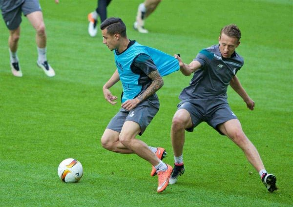 BASEL, SWITZERLAND - Tuesday, May 17, 2016: Liverpool's Philippe Coutinho Correia and Lucas Leiva during a training session ahead of the UEFA Europa League Final against Sevilla FC at St-Jakobs Park. (Pic by David Rawcliffe/Propaganda)