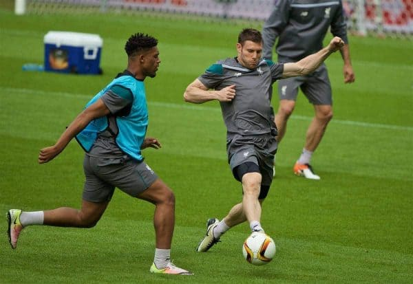 BASEL, SWITZERLAND - Tuesday, May 17, 2016: Liverpool's James Milner during a training session ahead of the UEFA Europa League Final against Sevilla FC at St-Jakobs Park. (Pic by David Rawcliffe/Propaganda)