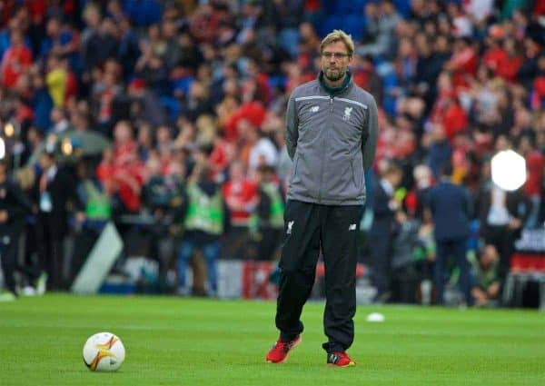 BASEL, SWITZERLAND - Wednesday, May 18, 2016: Liverpool's manager Jürgen Klopp before the UEFA Europa League Final against Sevilla at St. Jakob-Park. (Pic by David Rawcliffe/Propaganda)