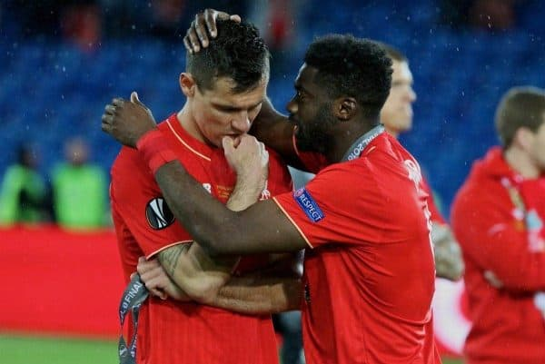 BASEL, SWITZERLAND - Wednesday, May 18, 2016: Liverpool's Dejan Lovren is consoled by Kolo Toure after losing 3-1 to Sevilla during the UEFA Europa League Final at St. Jakob-Park. (Pic by David Rawcliffe/Propaganda)