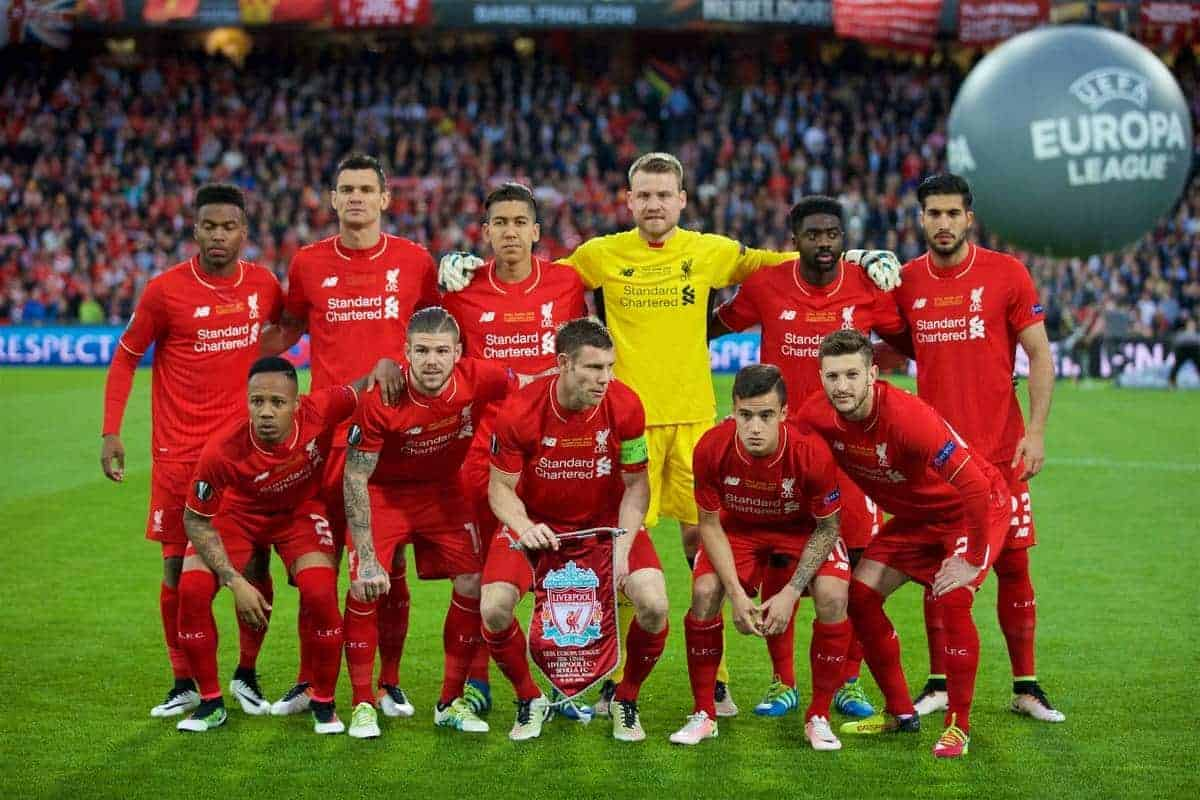 BASEL, SWITZERLAND - Wednesday, May 18, 2016: Liverpool's players line up for a team group photograph before the UEFA Europa League Final against Sevilla at St. Jakob-Park. (Pic by David Rawcliffe/Propaganda)