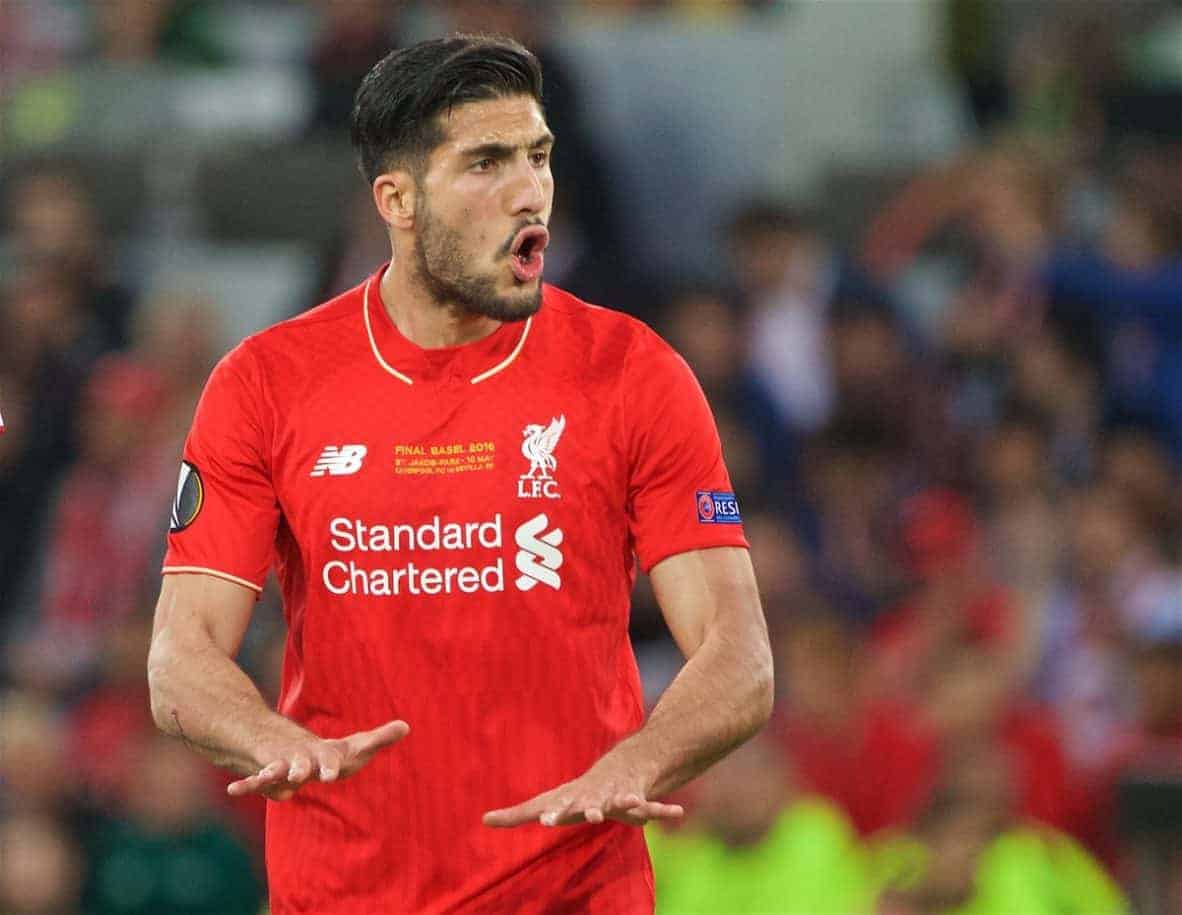 BASEL, SWITZERLAND - Wednesday, May 18, 2016: Liverpool's Emre Can in action against Sevilla during the UEFA Europa League Final at St. Jakob-Park. (Pic by David Rawcliffe/Propaganda)