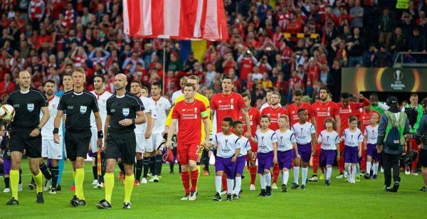 BASEL, SWITZERLAND - Wednesday, May 18, 2016: Liverpool's James Milner leads his side out to face Sevilla during the UEFA Europa League Final at St. Jakob-Park. (Pic by David Rawcliffe/Propaganda)
