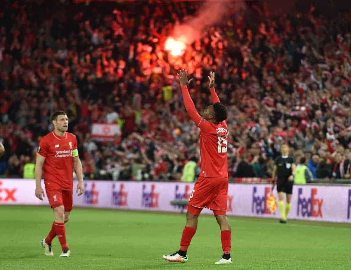 BASEL, SWITZERLAND - Wednesday, May 18, 2016: Liverpool's Daniel Sturridge celebrates scoring the first goal against Sevilla during the UEFA Europa League Final at St. Jakob-Park. (Pic by David Rawcliffe/Propaganda)
