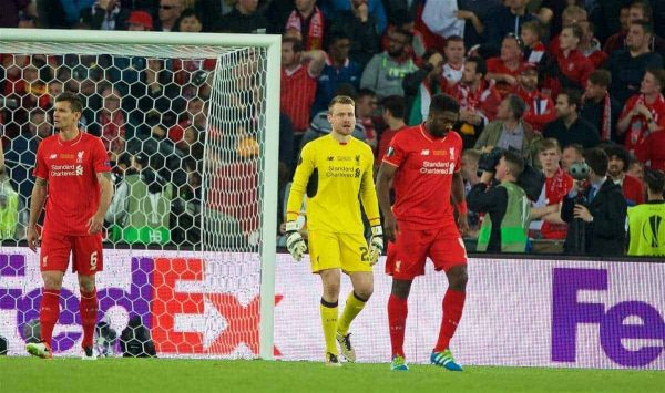 BASEL, SWITZERLAND - Wednesday, May 18, 2016: Liverpool's goalkeeper Simon Mignolet looks dejected as Sevilla score the first equalising goal during the UEFA Europa League Final at St. Jakob-Park. (Pic by David Rawcliffe/Propaganda)