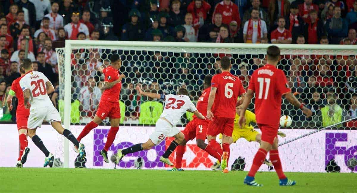 BASEL, SWITZERLAND - Wednesday, May 18, 2016: Sevilla's Coke scores the second goal against Liverpool during the UEFA Europa League Final at St. Jakob-Park. (Pic by David Rawcliffe/Propaganda)