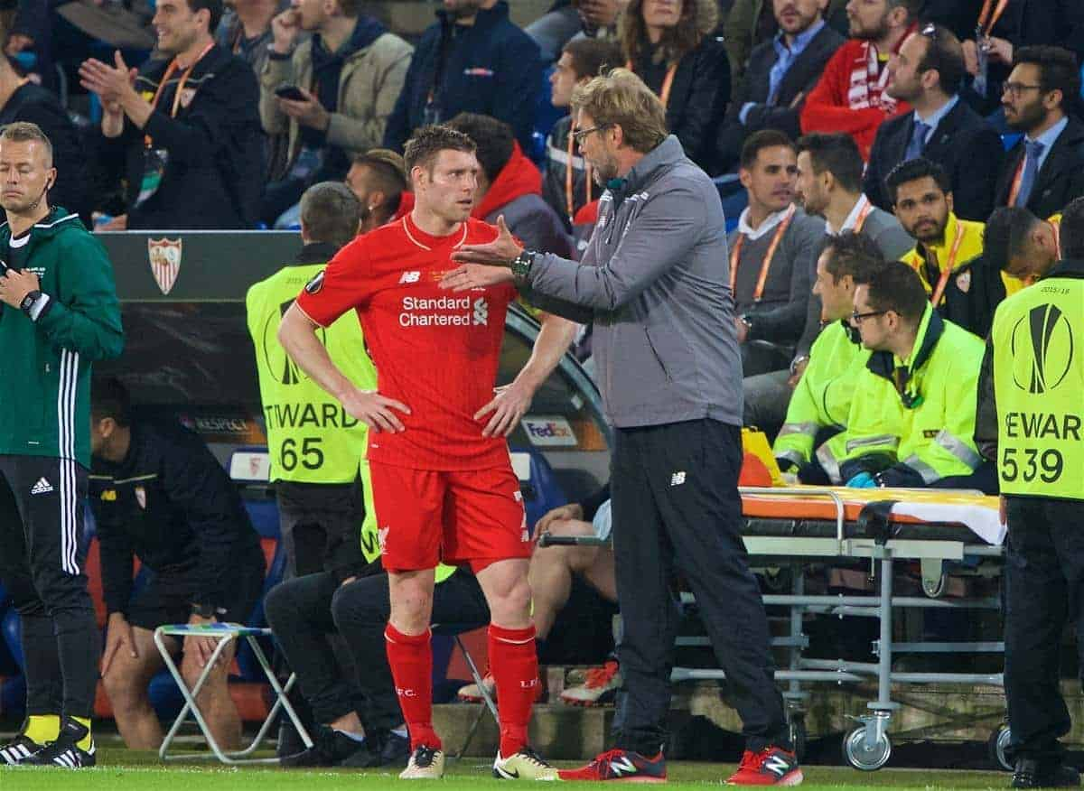 BASEL, SWITZERLAND - Wednesday, May 18, 2016: Liverpool's manager Jürgen Klopp gives instructions to James Milner against Sevilla during the UEFA Europa League Final at St. Jakob-Park. (Pic by David Rawcliffe/Propaganda)