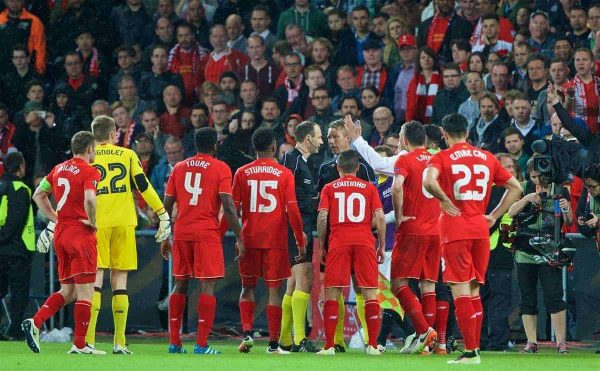 BASEL, SWITZERLAND - Wednesday, May 18, 2016: Liverpool players complain to the referee and assistant, who gave offside for the third goal then changed his mind, to award Sevilla the goal during the UEFA Europa League Final at St. Jakob-Park. (Pic by David Rawcliffe/Propaganda)