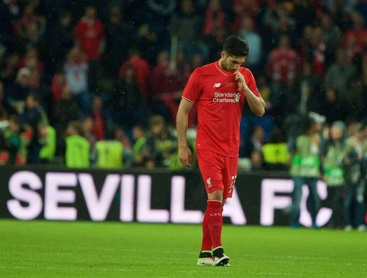 BASEL, SWITZERLAND - Wednesday, May 18, 2016: Liverpool's Emre Can looks dejected as Sevilla win 3-1 during the UEFA Europa League Final at St. Jakob-Park. (Pic by David Rawcliffe/Propaganda)