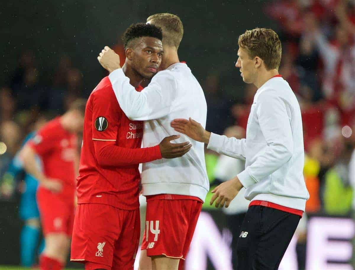 BASEL, SWITZERLAND - Wednesday, May 18, 2016: Liverpool's Daniel Sturridge looks dejected as Sevilla win 3-1 during the UEFA Europa League Final at St. Jakob-Park. (Pic by David Rawcliffe/Propaganda)