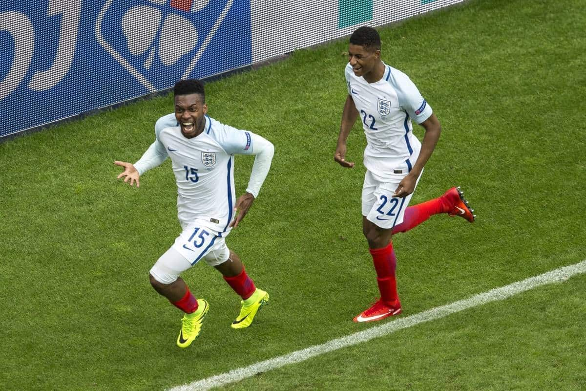 LENS, FRANCE - Thursday, June 16, 2016: England's Daniel Sturridge celebrates scoring his sides second goal against Wales during the UEFA Euro 2016 Championship Group B match at the Stade Bollaert-Delelis. (Pic by Paul Greenwood/Propaganda)