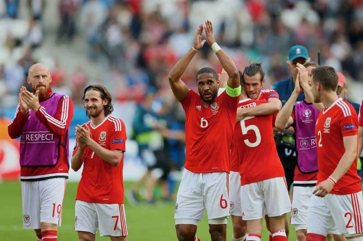 BORDEAUX, FRANCE - Saturday, June 11, 2016: Wales' James Collins, Joe Allen, captain Ashley Williams and Gareth Bale celebrate their side's 2-1 victory over Slovakia during the UEFA Euro 2016 Championship at Stade de Bordeaux. (Pic by David Rawcliffe/Propaganda)