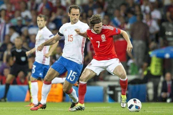 TOULOUSE, FRANCE - Monday, June 20, 2016: Wales' Joe Allen in action against Russia's Roman Shirokov during the final Group B UEFA Euro 2016 Championship match at Stadium de Toulouse. (Pic by Paul Greenwood/Propaganda)