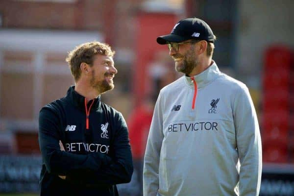 Liverpool's manager Jürgen Klopp [R] with head of fitness and conditioning Andreas Kornmayer [L] before a friendly match against Fleetwood Town at Highbury Stadium. (Pic by David Rawcliffe/Propaganda)