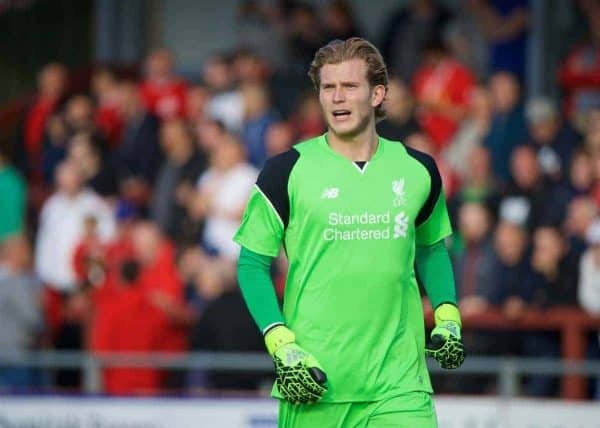 FLEETWOOD, ENGLAND - Wednesday, July 13, 2016: Liverpool's goalkeeper Loris Karius in action against Fleetwood Town during a friendly match at Highbury Stadium. (Pic by David Rawcliffe/Propaganda)FLEETWOOD, ENGLAND - Wednesday, July 13, 2016: Liverpool's goalkeeper Loris Karius in action against Fleetwood Town during a friendly match at Highbury Stadium. (Pic by David Rawcliffe/Propaganda)