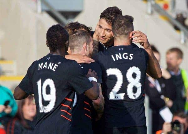 FLEETWOOD, ENGLAND - Wednesday, July 13, 2016: Liverpool's Marko Grujic celebrates scoring the first goal against Fleetwood Town during a friendly match at Highbury Stadium. (Pic by David Rawcliffe/Propaganda)