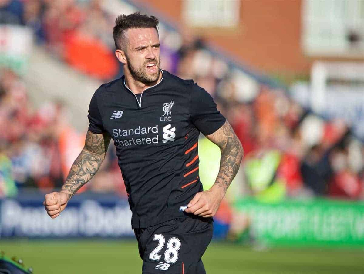 FLEETWOOD, ENGLAND - Wednesday, July 13, 2016: Liverpool's Danny Ings in action against Fleetwood Town during a friendly match at Highbury Stadium. (Pic by David Rawcliffe/Propaganda)