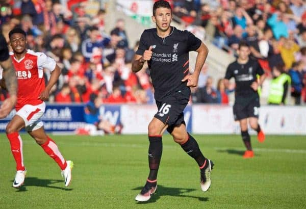 FLEETWOOD, ENGLAND - Wednesday, July 13, 2016: Liverpool's Marko Grujic in action against Fleetwood Town during a friendly match at Highbury Stadium. (Pic by David Rawcliffe/Propaganda)